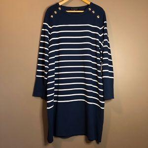NWT! Eloquii navy striped midi dress
